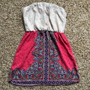 Strapless Lace and Patterned Dress